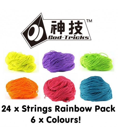 God Tricks 40% Polyester / 60% Cotton 6-Ply String RAINBOW PACK (24 Strings)